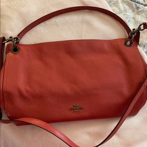 Coach leather handbag with removable strap.